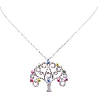 Evil Eye Sterling Silver Tree of Life Necklace