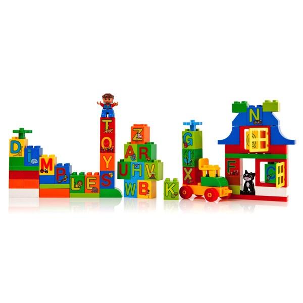 DimpleChild 65-piece Alphabet Building Bricks with Mini Figure/ Assorted Shapes