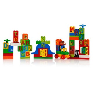 DimpleChild 65-piece Alphabet Building Bricks with Mini Figure/ Assorted Shapes