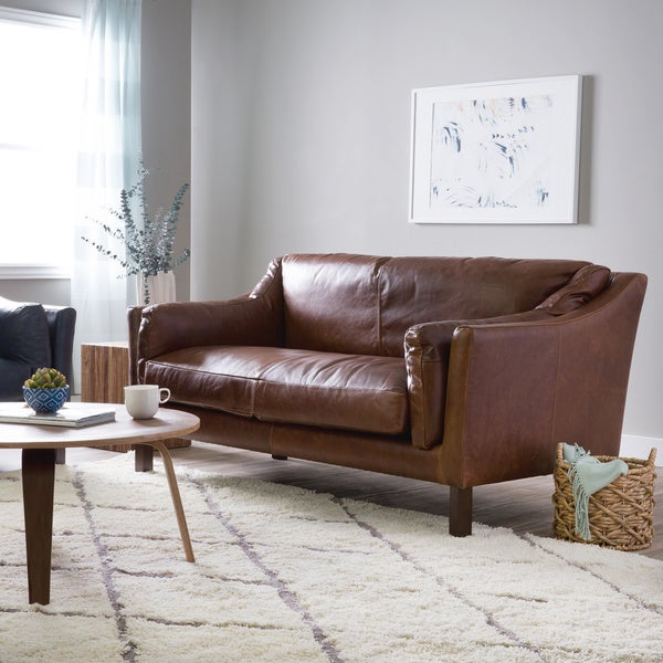 Shop Reginald Chocolate Leather Sofa Free Shipping Today