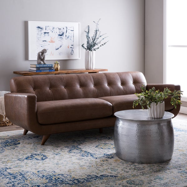 Pasha oxford tan leather sofa free shipping today for Canape oxford honey leather sofa