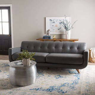 Pasha Metro Leather Gun Metal Sofa