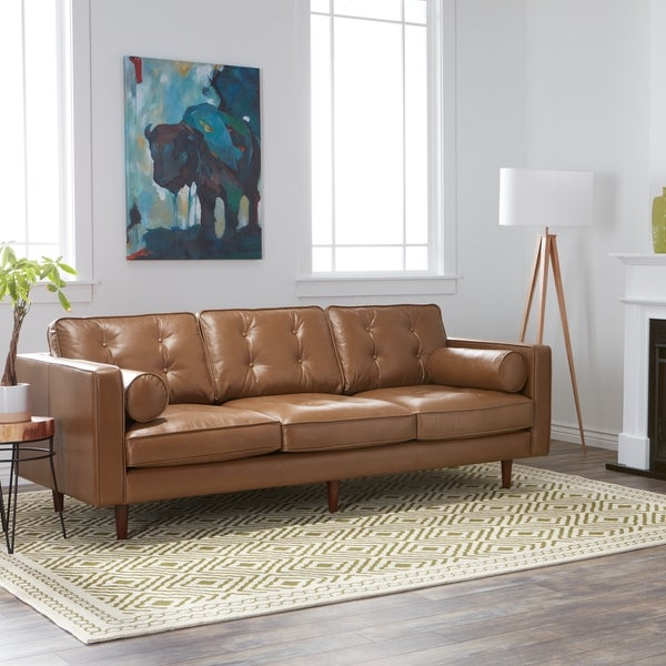 Carson Carrington Elsinore Caramel Metro Leather Sofa