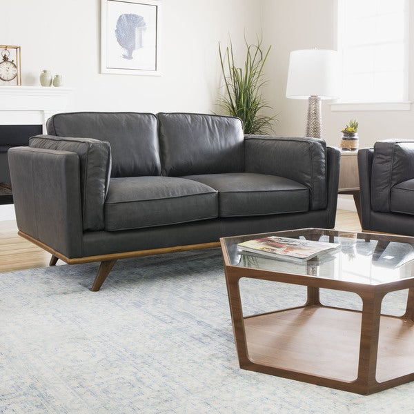 Astoria grey oxford leather loveseat free shipping today for Canape oxford honey leather sofa