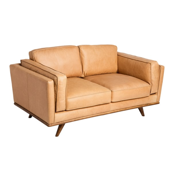 astoria tan charme leather loveseat free shipping today