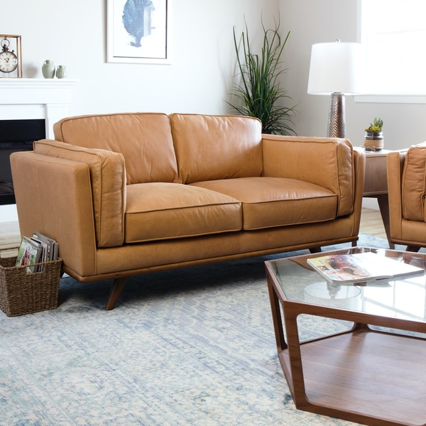 Finest Astoria Tan Charme Leather Loveseat - Free Shipping Today  QL96