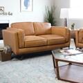 Astoria Tan Charme Leather Loveseat