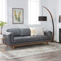 Jasper Laine Del Ray Grey Oxford Leather Sofa