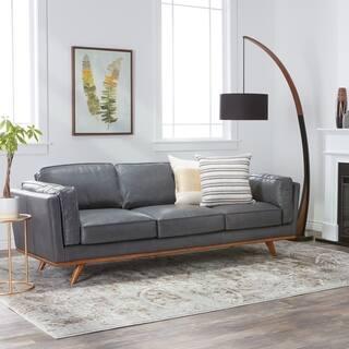 Jasper Laine Del Ray Grey Oxford Leather Sofa