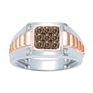 Unending Love 10k Two-tone Gold 1/2ct TDW Brown And White Diamond Men's Square Ring