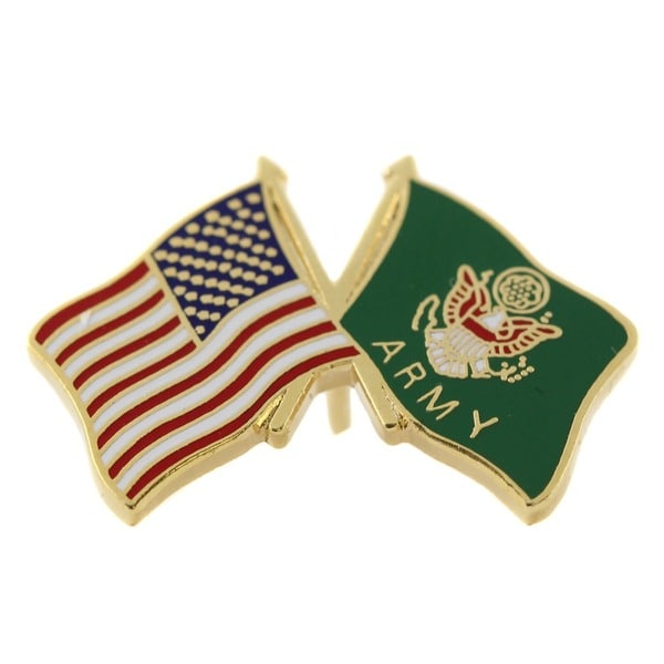 American and US Army Crossed Flags Pin