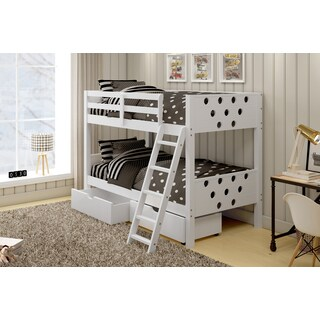 Donco Kids Circles Twin Bunk Beds with Under Bed Storage