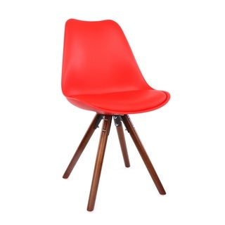 Viborg Mid Century Red Dining Chair Walnut Base (Set of 2)