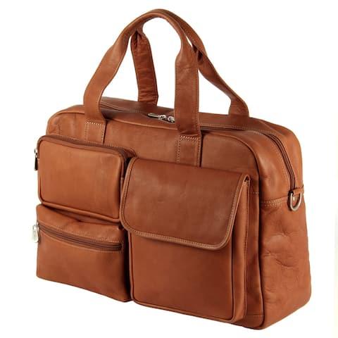 Piel Leather Multi-Pocket 16-inch Carry-On Duffel Bag