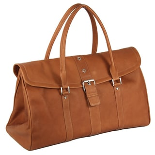 Piel Leather Buckle Flap-Over Satchel Duffel Bag