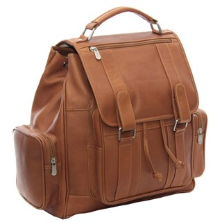Piel Leather Double Loop Flap-Over Laptop Backpack (3 options available)