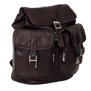 Piel Leather Medium Drawstring Backpack with Two Front Pockets