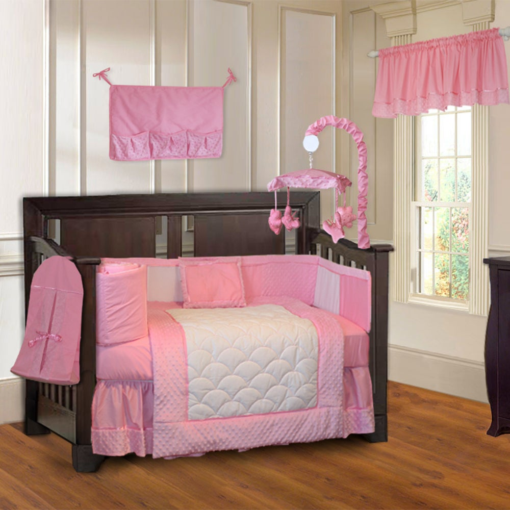 Babyfad Minky Pink 10 Piece Girls Baby Crib Bedding Set With Musical Mobile