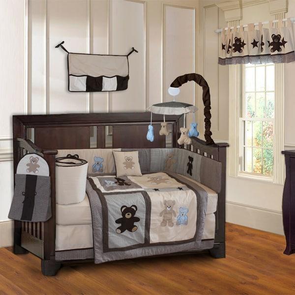 Babyfad Teddy Bear 10 Piece Boys Baby Crib Bedding Set With Musical Mobile