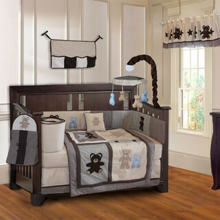 BabyFad Teddy Bear 10-piece Boys' Baby Crib Bedding Set with Musical Mobile