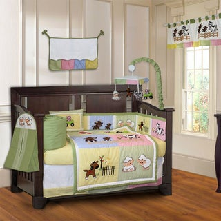 BabyFad Barnyard 10-piece Farm Baby Crib Bedding Set with Musical Mobile