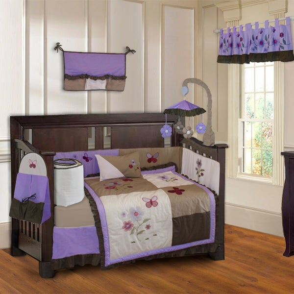 shop babyfad purple blossom 10 piece baby girls 39 crib bedding set with musical mobile free. Black Bedroom Furniture Sets. Home Design Ideas