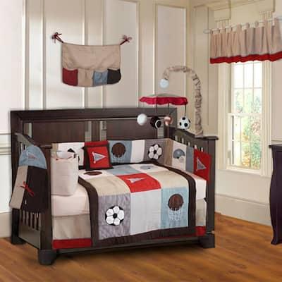 BabyFad Go Team 10-piece Baby Boy Sports Crib Bedding Set with Musical Mobile