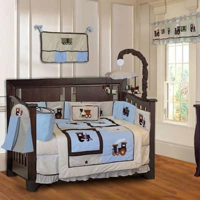 BabyFad Train 10-piece Boys' Baby Crib Bedding Set with Musical Mobile