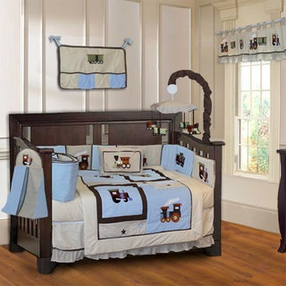 BabyFad Train 10-piece Boys' Baby Crib Bedding Set with Musical Mobile