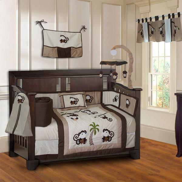 BabyFad Monkey 10-piece Boys' Baby Crib Bedding Set with Musical Mobile