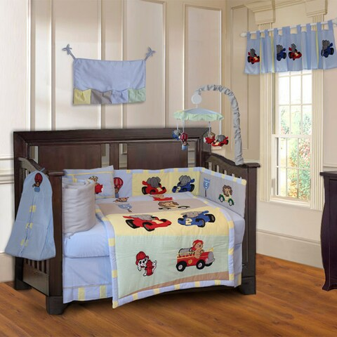 BabyFad Animal Zoom 10-piece Boys' Baby Crib Bedding Set with Musical Mobile