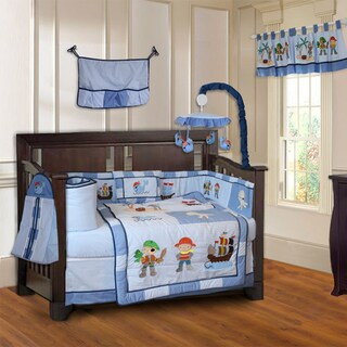 BabyFad Pirates 10-piece Boys' Baby Crib Bedding Set with Musical Mobile