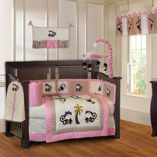 BabyFad Girls' Pink Monkey 10-piece Baby Girls' Crib Bedding Set with Musical Mobile
