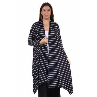 24/7 Comfort Apparel Women's Plus Size Flowing Long Sleeve Striped Shrug