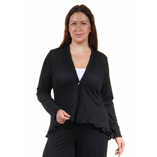 24/7 Comfort Apparel Women's Plus Size Long Sleeve Ruffle Shrug