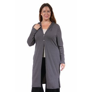 24/7 Comfort Apparel Women's Plus Size Striped Knee-Length Shrug
