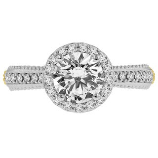 18k Two-tone Cbuc Zirconia Center and 3/8ct TDW Diamond Halo Semi Mount ( F-G, VS1-VS2)