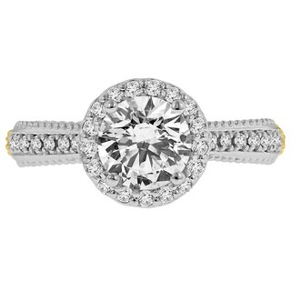 18k Two-tone Cbuc Zirconia Center and 3/8ct TDW Diamond Halo Semi Mount