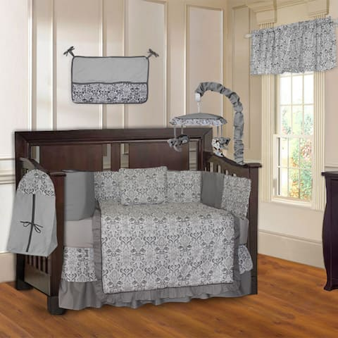 BabyFad Grey Damask 10-piece Baby Crib Bedding Set with Musical Mobile