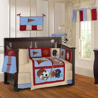 BabyFad Sports Champion 10-piece Baby Crib Bedding Set with Musical Mobile