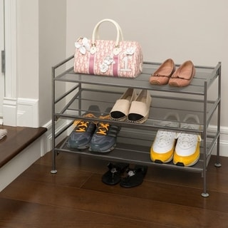 3-Tier Mesh Multi-Position Utility Shoe Rack - Silver