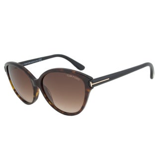 Tom Ford Womens TF 342 Priscilla 56F Havana Plasic Cat Eye Sunglasses