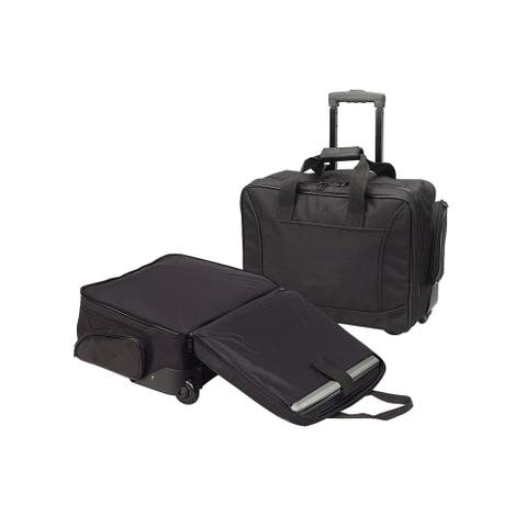 Black Unisex Airport TSA Check-point Friendly Rolling Laptop Business Organizer Stationary Briefcase