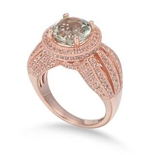 Suzy Levian Sterling Silver 4.53 TCW Green Amethyst Ring