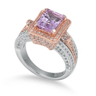 Suzy Levian Sterling Silver Pink Amethyst 5.2 cttw Ring