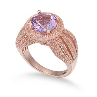 Suzy Levian Sterling Silver 4.37 TCW Pink Amethyst Ring