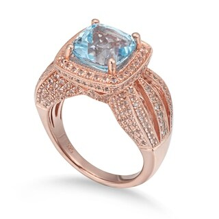 Suzy Levian Sterling Silver 6.04 TCW Blue Topaz Ring