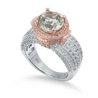 Suzy Levian Two-Tone Sterling Silver Round 5.01 cttw Green Amethyst Ring