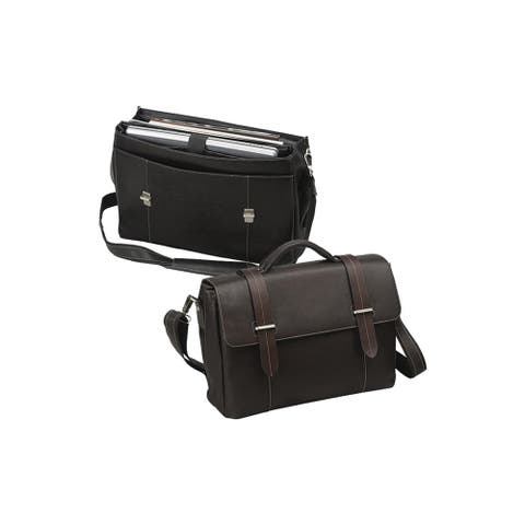 Classic Leather 15.4-inch Macbook Laptop Flap-Over Briefcase
