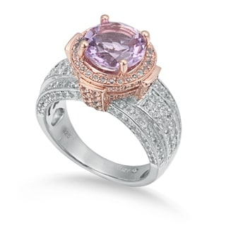Suzy Levian Two-Tone Sterling Silver Round 4.85 TCW Pink Amethyst Ring